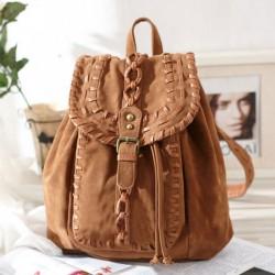 Fashion Original Weave Braid Brown Backpack