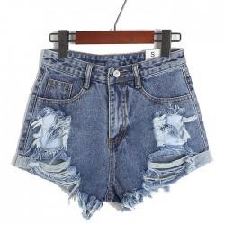 Summer Hole High Waist Denim Shorts  Dark Blue Pants Jeans Plus Size Wonmen Shorts
