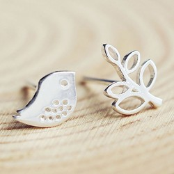Cute Leaf Bird Sweet Animal Women Earrings 925 Silver Earrings Studs