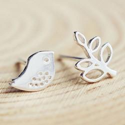 Cute Leaf Bird Sweet Animal Women Earrings 925 Silver Earrings Studs
