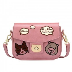 Cute Kitten Face Crossbody Bag Cartoon Bear Animal Shoulder Bag