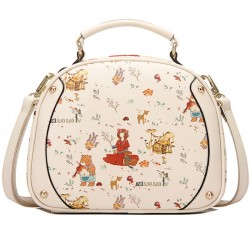 Sweet Black Beige Cute Lady Bag Cartoon Princess Printing Shoulder Bag