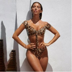 Sexy New Leopard High Waist Tie Women Bikinis Swimsuit