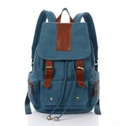 Vintage Nice Large Travel Rucksack Leather Canvas School Backpack