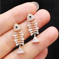 Personality Creative Earrings Zircon Fish Bone Lovely Silver Needle Bone Animal Earrings Studs