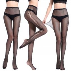 Sexy Hollow Flower High Waist Fishnet Thin Women Stockings