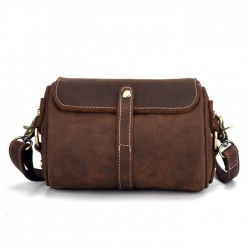 Retro Brown Small Cylinder Bag Single Buckle Top Layer Cowhide Simple Shoulder Bag