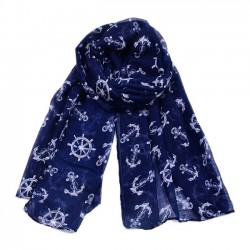 Vintage Thin Navy Anchor Print Scarf Shawl Beach Women Scarves