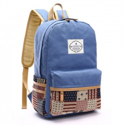 Fresh Splice Star Grid School Bag Student Large Canvas Backpacks