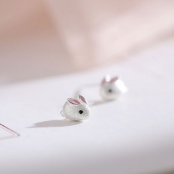 Lovely White Rabbit Fresh Silver Mini Animal Lady Earring Studs