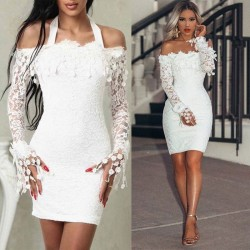 Sweet White Off-the-shoulder Flower Lace Long-sleeved Skirt Summer Dress