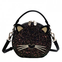 Lovely Kitten Sequin Black Cat Lady's Shoulder Bag Bucket Bag