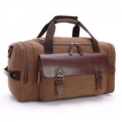 Leisure Luggage Bag Large Capacity Travel Canvas Messenger Bag Leather Buckle Stitching Shoulder Bag