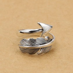 Retro Feather Arrow Indian Style Feather Silver Open Rings