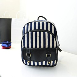 Fresh Navy Stripe Canvas Backpack