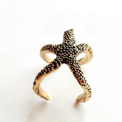 Vintage Copper Cute Starfish Open Ring
