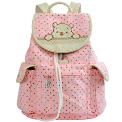 Lovely Pink Cartoon Bear Rucksack Polka Dot Animals Canvas Backpack