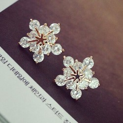 Rhinestone Snow Ear Studs/Ear Clips/Necklace