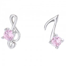 Music Silver Earrings For Women Asymmetrical G-clef Musical Note Pink Crystal Earring Studs