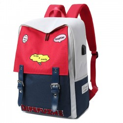 Unique High School Student Bag Large Capacity Red Blue Contrast Color College Backpack