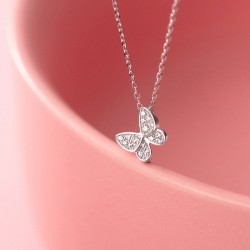 Cute Romantic Gift Animal Jewelry Mini Butterfly Pendant 925 Silver Necklace