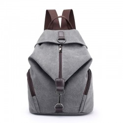 Casual Folds Single Buckle Multi-function Canvas School Backpack