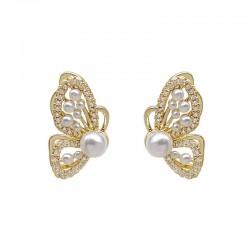 Cute Butterfly Diamond Jewelry For Girl Symmetrical Hollow Crystal Butterfly Wings Pearl Silver Earring Studs