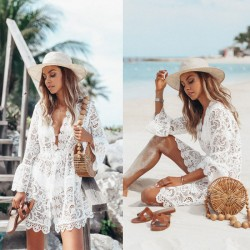 Leisure Lace Long Sleeve Sunscreen Summer Dress Skirt Beach Hollow Dress
