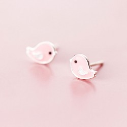 Lovely Pink Bird Silver Earrings Studs Sweet Animal Earrings