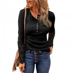 Leisure Hollow Sleeve Lace Long Sleeve Crew Neck Pullover Shirts Blouse Tops