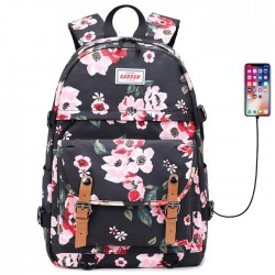 Leisure Double Buckle Flower Print Waterproof Junior School Bag Rucksack Large Capacity Backpack