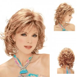 Fashion White Lady's Diagonal Bangs Hair Hood Short Curly Golden Hair Wigs