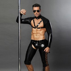 Sexy Black Nightclub Temptation Leather Rivet Police Uniform Gay Bar Performance Clothing Cosplay Men's Lingerie