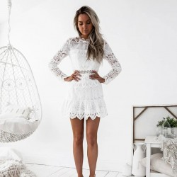 Sweet Hollow Floral Bridesmaid Long Sleeve White Lace Middle Slim Summer Dress Party Gown Dress