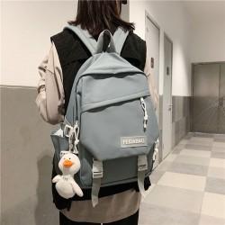 Fresh Double Buckle Decor Waterproof Bookbag For Girl Plus Size Leisure Junior High School Bag Student Backpack