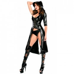 Sexy Cloak Eye-catching Stringing SM Queen Outfit Black Patent Leather Windbreaker Robe For Women Lingerie