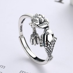 Retro Fish Kiss Lotus Tassel Pendant Adjustable Size Open Ring For Women Animal Rings
