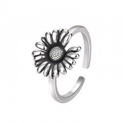 Retro Sunflower Ring Floral Boho Rings Bride Wedding Gifts Daisy Promise Women Silver Open Ring