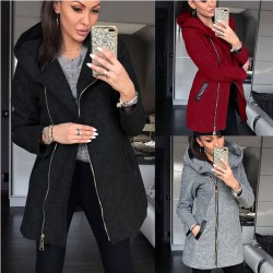 Fashion Side Zipper Plus Fleece Coat Hooded Jacket Winter Sweatshirt Women's Coat