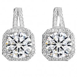 Shining Silver Luxury Diamond-bordered Octagon Women's Earring Studs