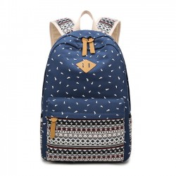 Folk Student School Bag Totem Trunk Stripe Large Canvas Backpack