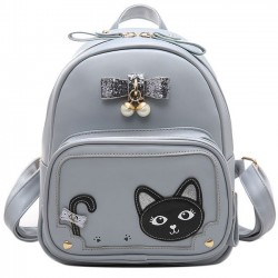 Sweet Stereo Bowknot Pearl Pendant Girl's Kitten PU Fresh Cute Cat School Backpack