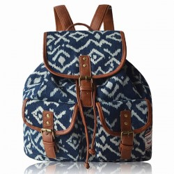 Original Two Pockets Geometry Irregular Canvas Retro School Leisure Backpack