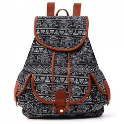 Folk Irregular Totem Geometric Patterns PU Elephant Printing 3 Pockets School Canvas Backpack
