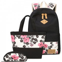 Folk Ink Wash Painting Pink Flowers Rose School Girl's Black Canvas Large Backpack
