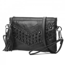 Leisure Weave Ladies Leather Braided Rivets Handbags Messenger Bags Punk Shoulder Bag