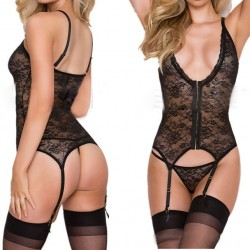 Sexy Mesh See Through One-piece Waistcoat Deep V-neck Women's Lace Lingerie
