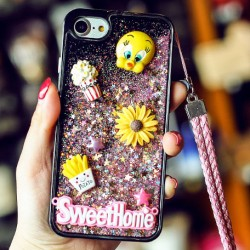 Cute Cartoon Stereo Rabbit Bear Chick Glitter Quicksand Phone Case Iphone 6/6 plus/6s/6s plus/7/7 plus Case