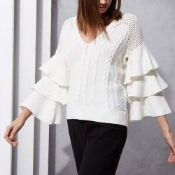 Unique Women's Corchet Flower Hollowed-out Twist Weave Falbala Sweater