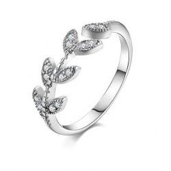 Lovely Girl's Leaf Vivid Ring Diamond-bordered Leaves Silver Open Ring